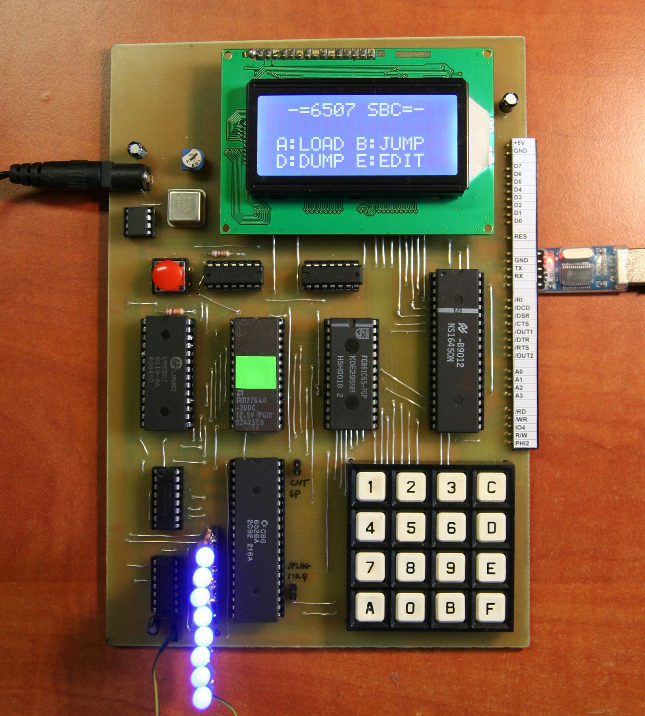 Single board retro homebrew computer with 32k and full  8k BASIC and RS232